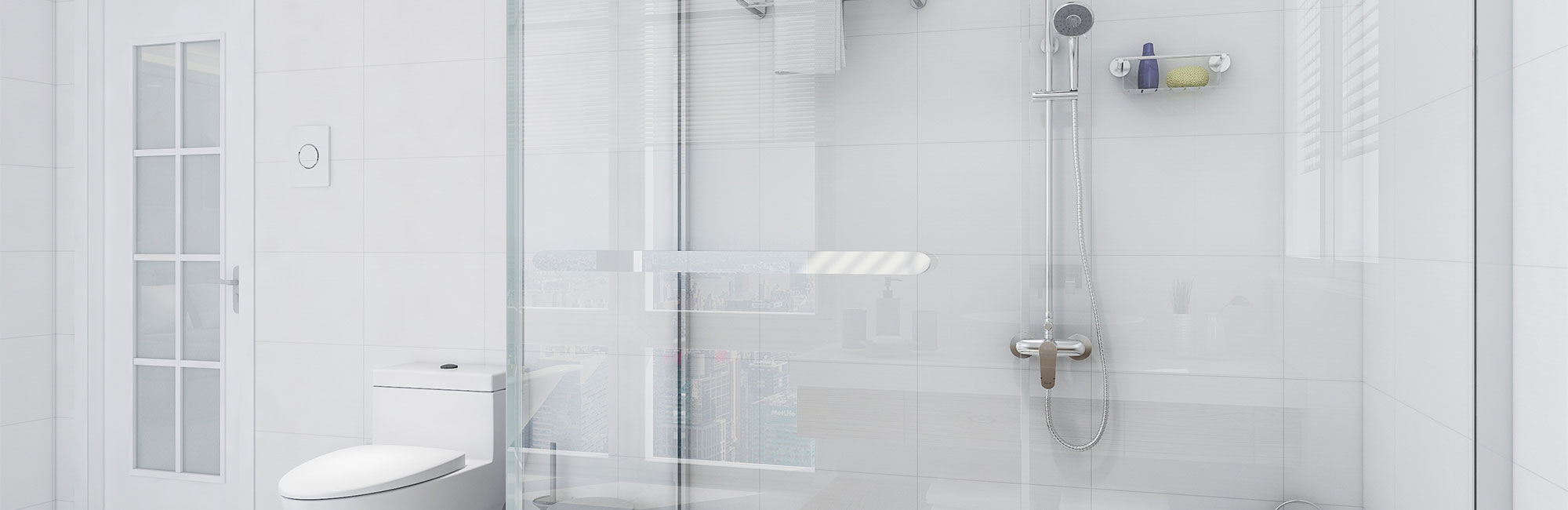 White Bathroom with Glass Door Shower