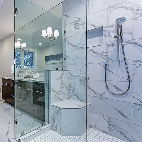 Walk-in Shower with Glass Door